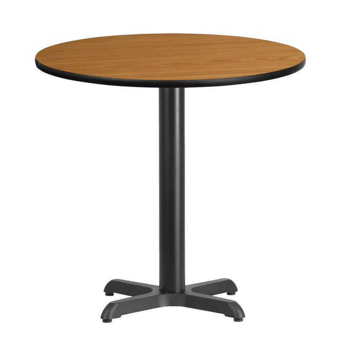 30'' Round Natural Laminate Restaurant Table Top with 22'' x 22'' Table Height Base