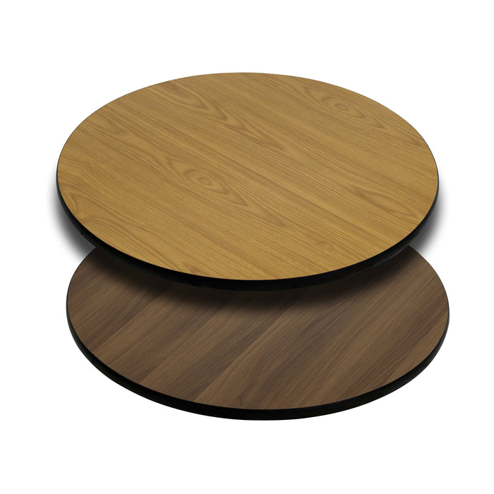 30'' Round Restaurant Table Top with Natural or Walnut Reversible Laminate Top