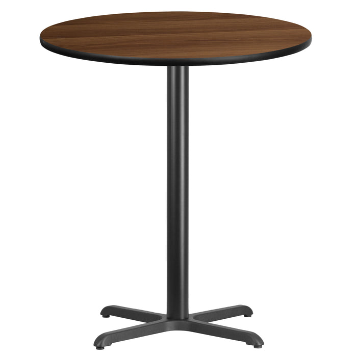 36'' Round Walnut Laminate Table Top with 30'' x 30'' Bar Height Table Base