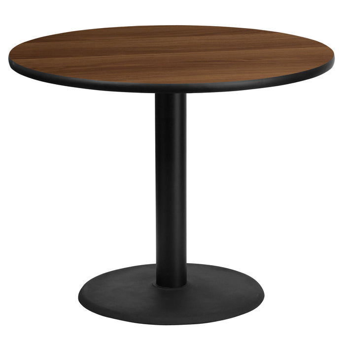 36'' Round Walnut Laminate Restaurant Table Top with 24'' Round Table Height Base