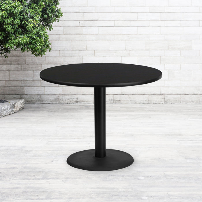42'' Round Black Laminate Restaurant Table Top with 24'' Round Table Height Base