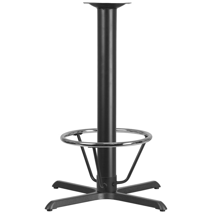 33'' x 33'' Restaurant Table X-Base with 4'' Dia. Bar Height Column and Foot Ring