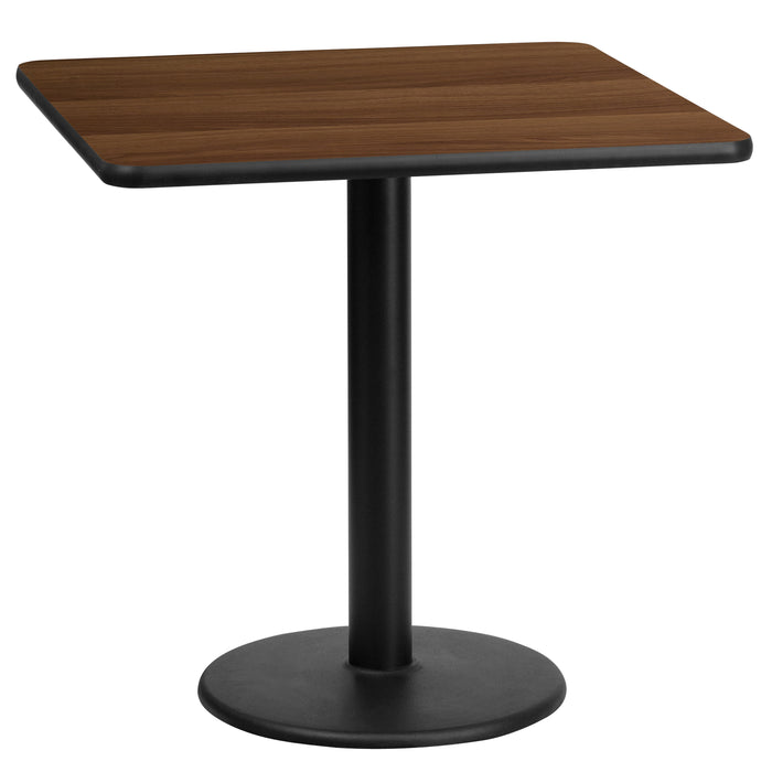 24'' Square Walnut Laminate Restaurant Table Top with 18'' Round Table Height Base