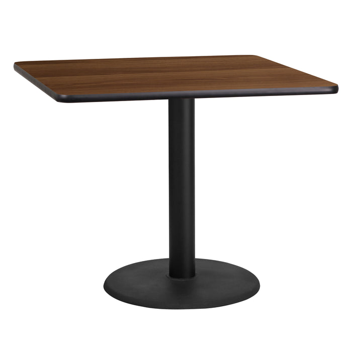 36'' Square Walnut Laminate Restaurant Table Top with 24'' Round Table Height Base