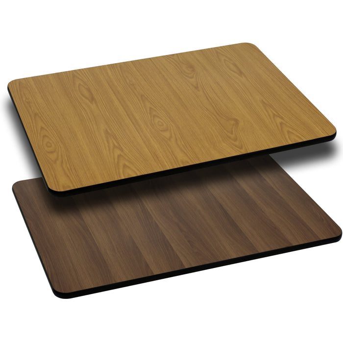 30'' x 60'' Rectangular Restaurant Table Top with Natural or Walnut Reversible Laminate Top