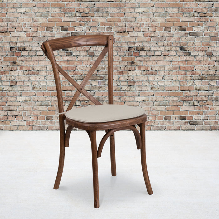 "18.5"" HERCULES Series Stackable Pecan Wood Cross Back Restaurant Chair with Cushion"