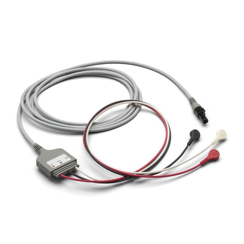 Welch Allyn 008-0880-00 10' ECG Cable 3 Attached Lead, Snap - Vital Signs Monitor Accessory-Preferred Medical Plus