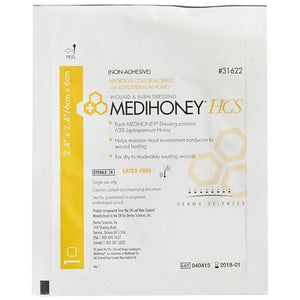 Derma Sciences 31622 Medihoney Hydrogel Colloidal Sheet (2.4 in. x 2.4 in.)-Preferred Medical Plus
