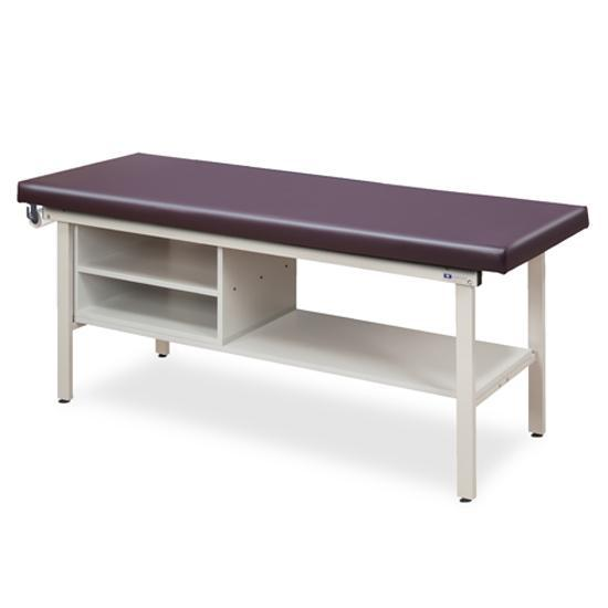 Clinton Industries 3300 Flat Top Alpha S-Series Straight Line Treatment Table with Shelving-Preferred Medical Plus