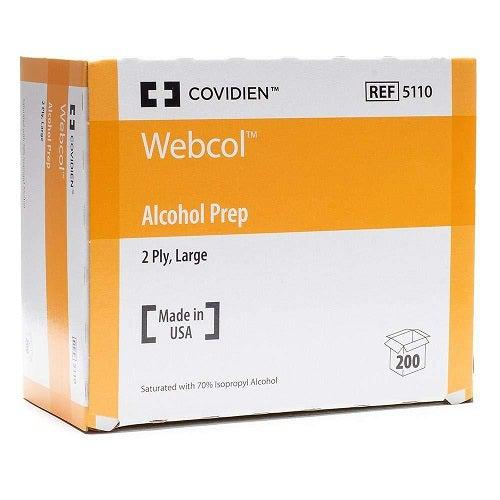 Covidien 5110 Webcol Large Alcohol Prep Pads (Box of 200)-Preferred Medical Plus