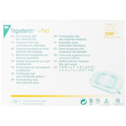 3M 3586 Tegaderm+Pad Transparent Film Dressing (3½ in. x 4 in.)-Preferred Medical Plus