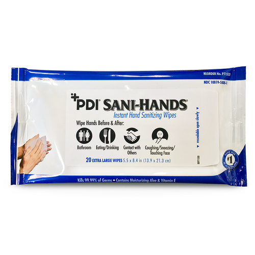 PDI Healthcare P71520 Sani-Hands Hand Sanitizing Wipes 8.4 in. x 5.5 in. (Case of 48)-Preferred Medical Plus