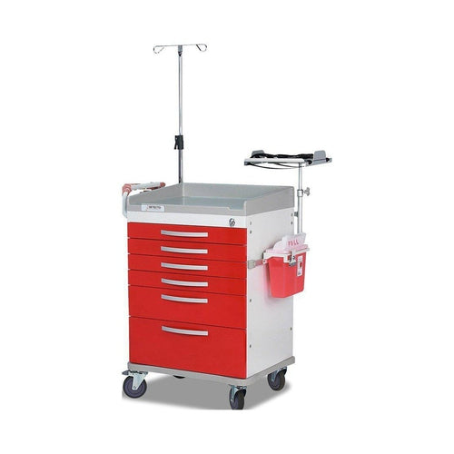 Detecto WC33669RED Whisper Series Emergency Room Medical Cart-Preferred Medical Plus
