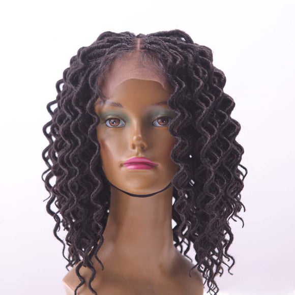 Curly twist synthetic faux loc wig