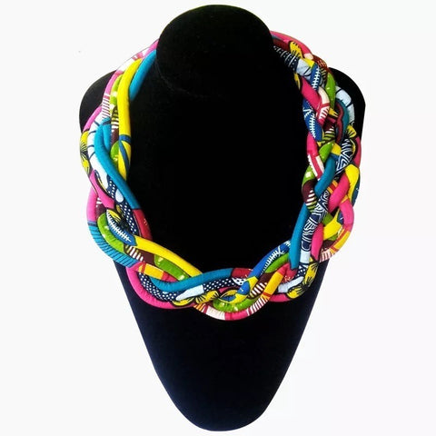 Twisted Ankara print necklace