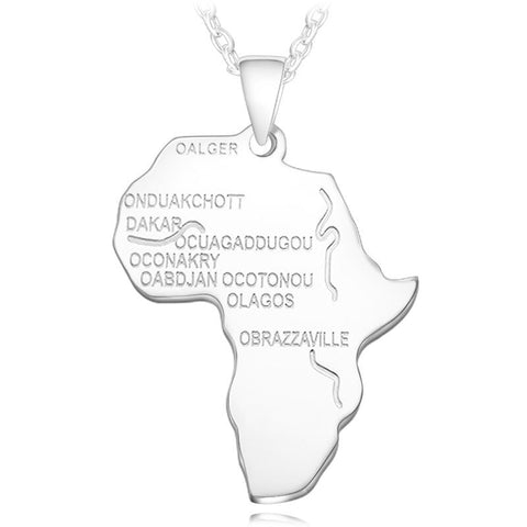 Africa Map Gold Color Stainless Steel Pendant Necklace for Men Women Chain Necklace Fashion African Map Pendant Hip Hop Jewelry