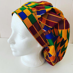 African Fabric Surgical Cap, Medical OR Nurse hat made with Ankara fabric, wax print hair Bonnet.