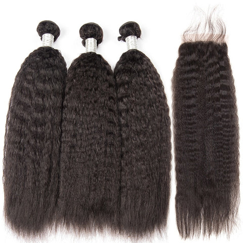 Yaki Human Hair Bundles with Closure 3pcs