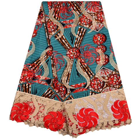 Beautiful Embroidered African Ankara Wax Lace Fabric