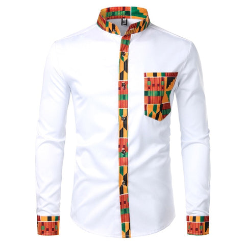Dashiki African Men's t Patchwork Pocket Shirt