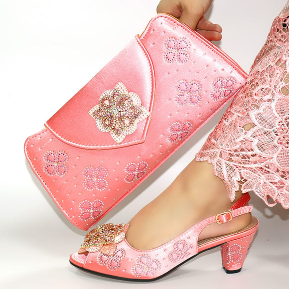 Hot selling African beautiful peach Shoes And Bag Set
