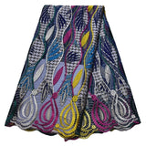 New Lace Fabric Ankara Print Wax With Mesh Lace