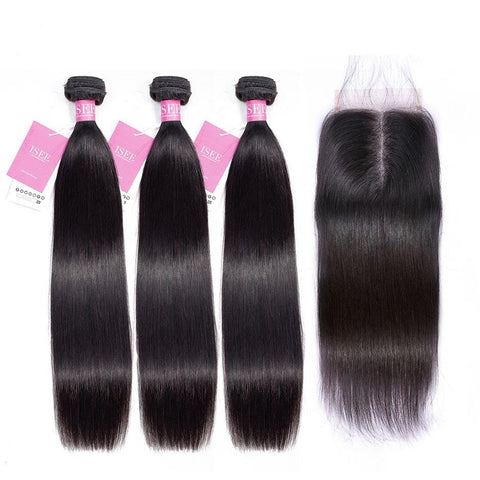 Malaysian Human Hair Bundles With Frontal Closure