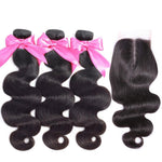 Body Wave Human Hair Bundles With Closure