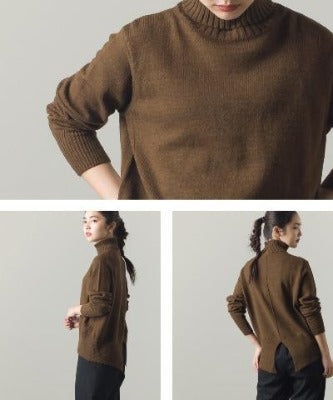 High Neck Wool with Alpaca Blend Knit Back Slit Sweater 7