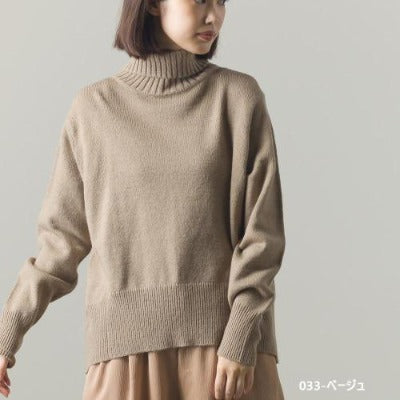 High Neck Wool with Alpaca Blend Knit Back Slit Sweater 3
