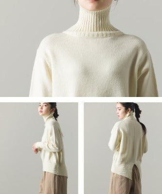 High Neck Wool with Alpaca Blend Knit Back Slit Sweater 6