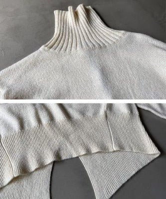 High Neck Wool with Alpaca Blend Knit Back Slit Sweater 4