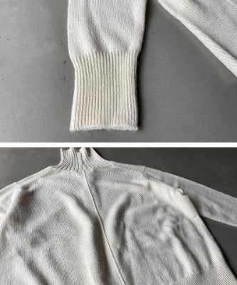 High Neck Wool with Alpaca Blend Knit Back Slit Sweater 5