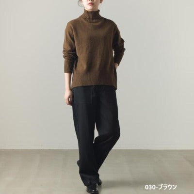 High Neck Wool with Alpaca Blend Knit Back Slit Sweater 2