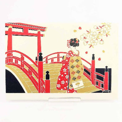 Japanese Christmas Card , a Geisha on Taiko Bridge 1