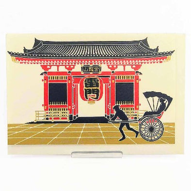 Japanese Christmas Card , Kaminari Gate and a richshaw