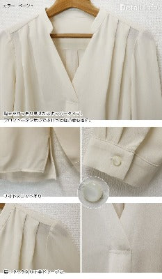 Chiffon cut and sew skipper blouse - Beige Women's Medium-women's apparel-Zak Zakka