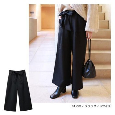 Wide Leg Pants with ribbon - Women's Medium-women's apparel-Zak Zakka
