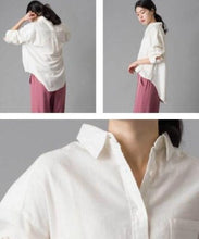 Cotton hemp rayon comfortable sized shirt by Omnes Japanese clothing brand-women's apparel-Zak Zakka