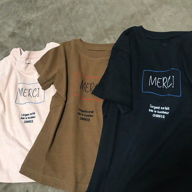"Kids print short sleeve T-shirt ""Merci""- size 120 cm and 130 cm-Kids-Zak Zakka"