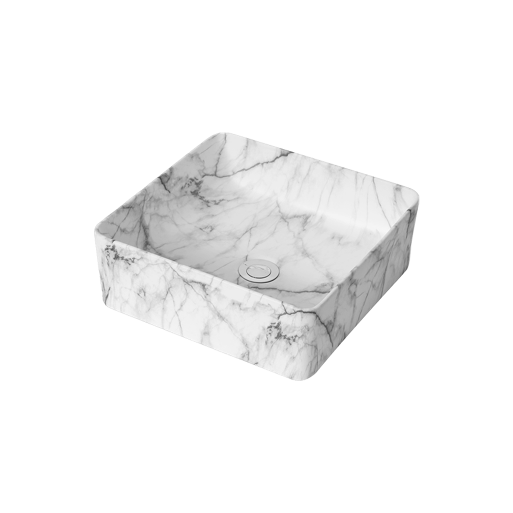 Matt Rectangle Above Counter Basin White Carrara 370X370X130