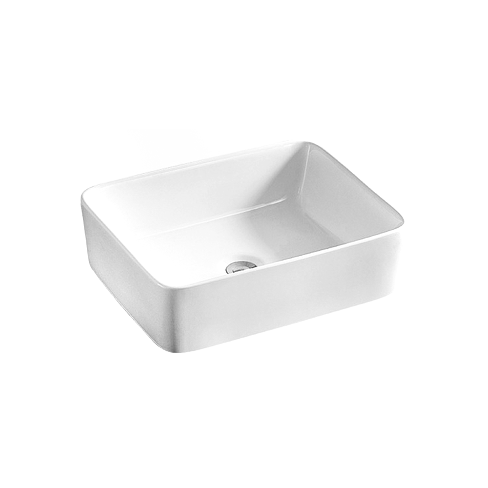 Gloss Rectangle Above Counter Basin White 400X300X130