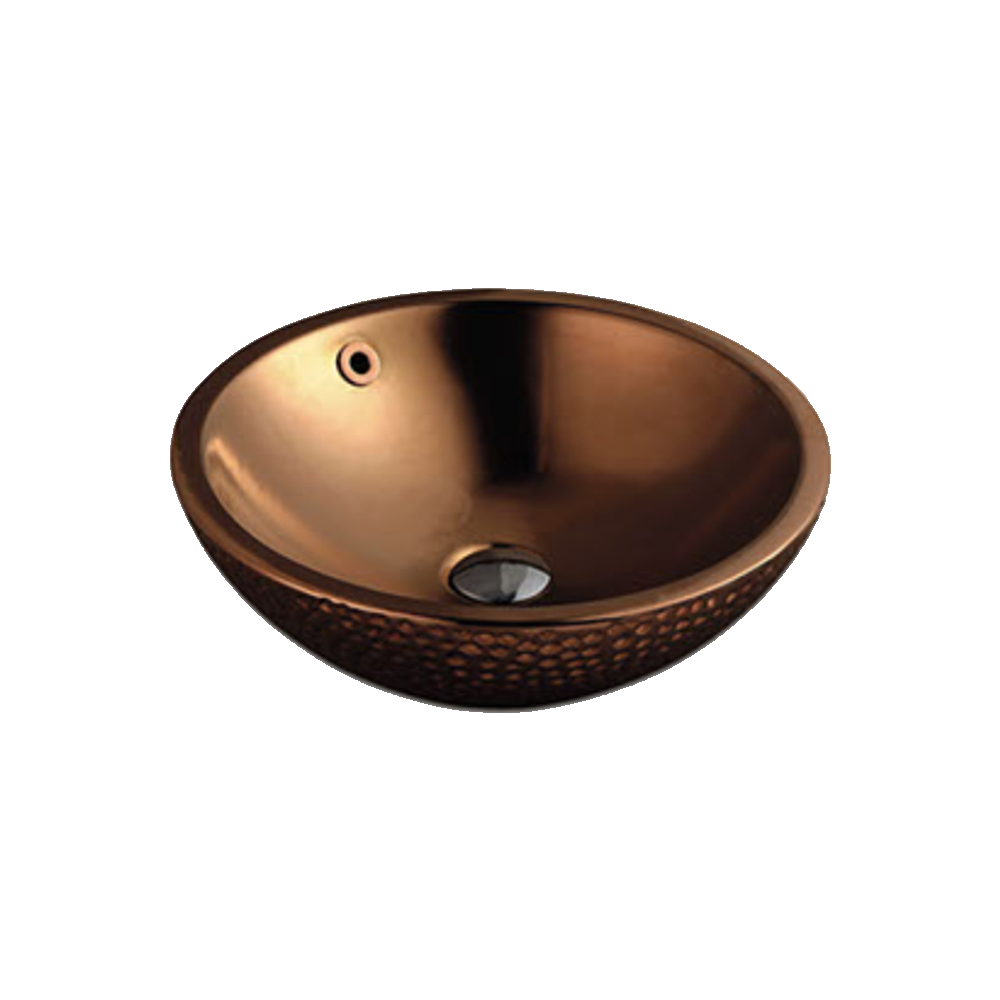 Gloss Round Above Counter Basin Rose Gold 430X430X145