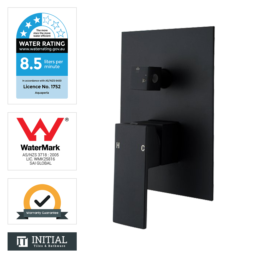 Bathroom Block Shower Wall Mixer with Diverter Black