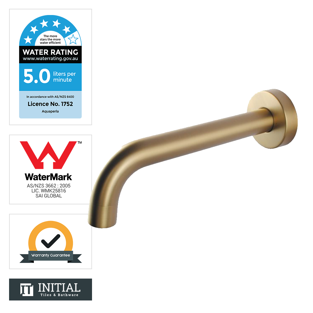 Bathroom Petra Wall Bath Spout Brushed Yellow Gold