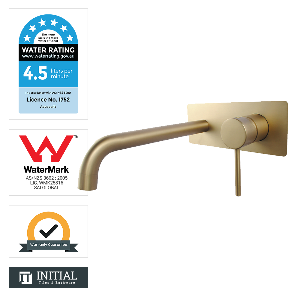 Bathroom Petra Bathtub Wall Mixer with Spout Brushed Yellow Gold