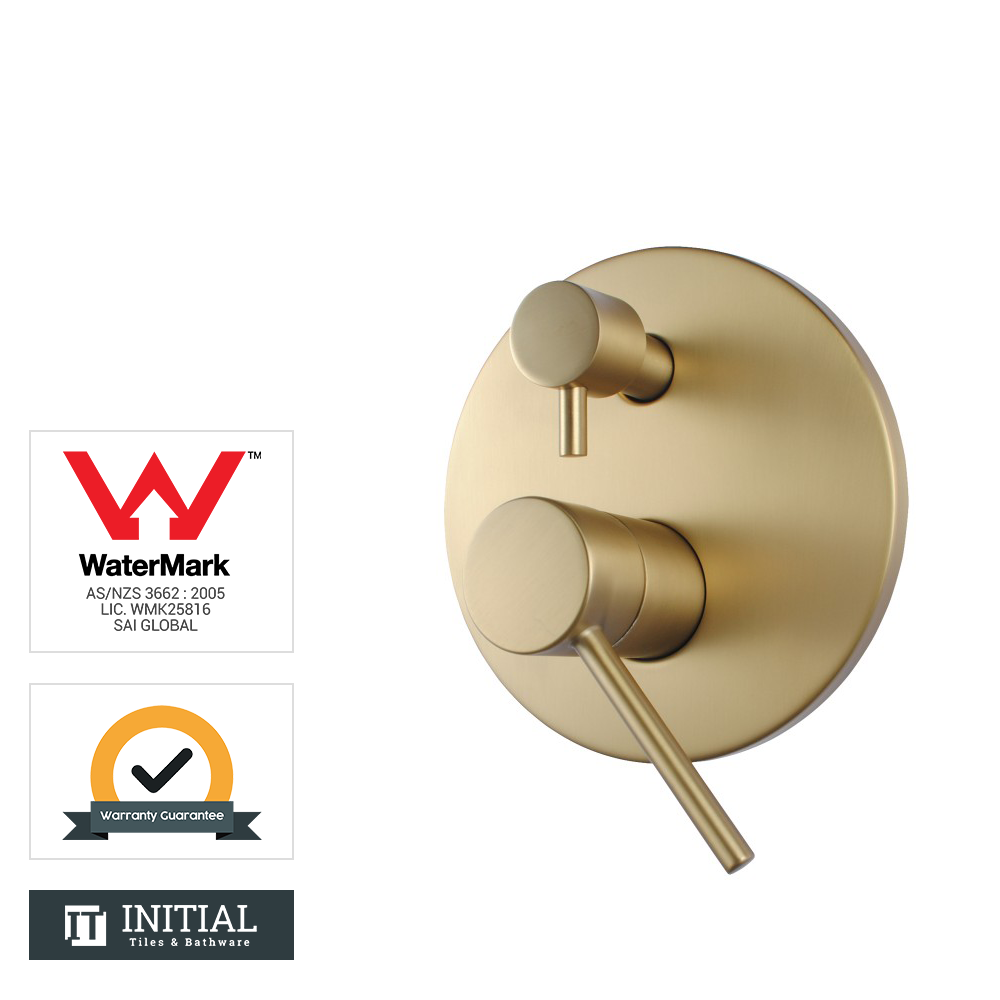 Bathroom Petra Shower Wall Mixer with Diverter Brushed Yellow Gold