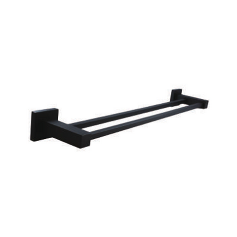 Block Double Towel Rail 600mm Black
