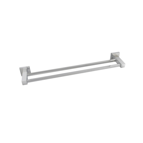 Block Double Towel Rail 600mm Chrome