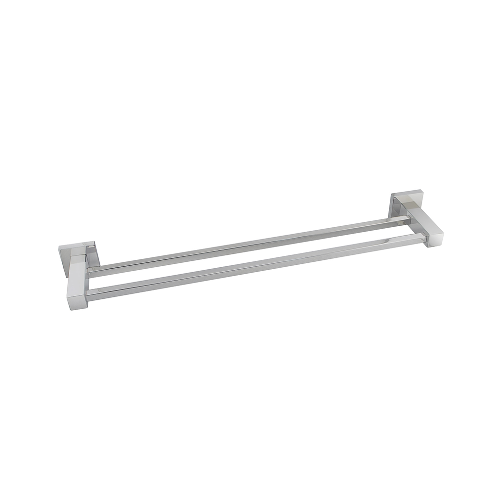Block Double Towel Rail 800mm Chrome